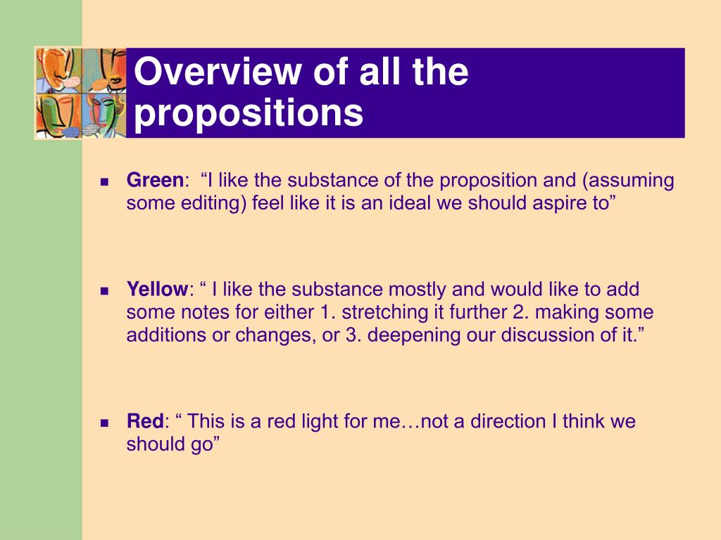 Overview of all the propositions