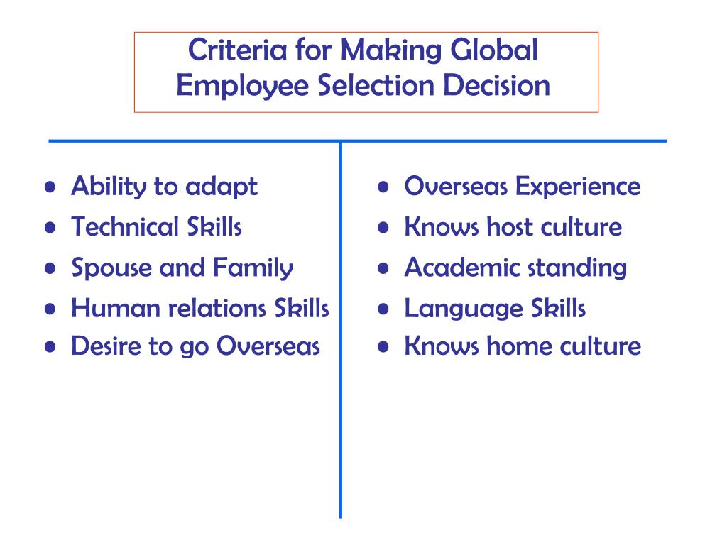 selection criteria for international assignment 92 general criteria for selection procedures  151 correlation between type of assignment, selection method,  csm consulting services manual.