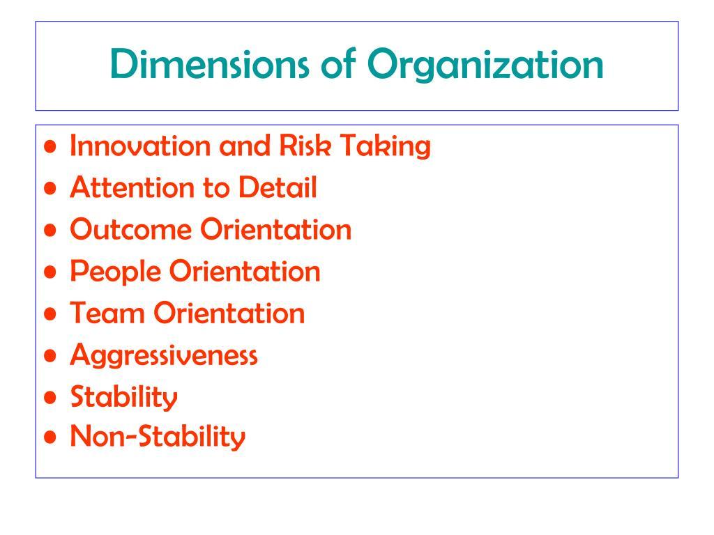 Dimensions of Organization