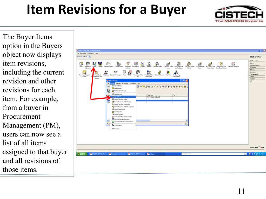 Item Revisions for a Buyer