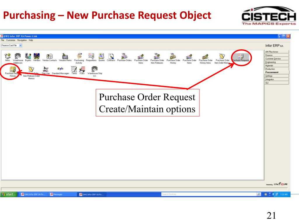 Purchasing – New Purchase Request Object