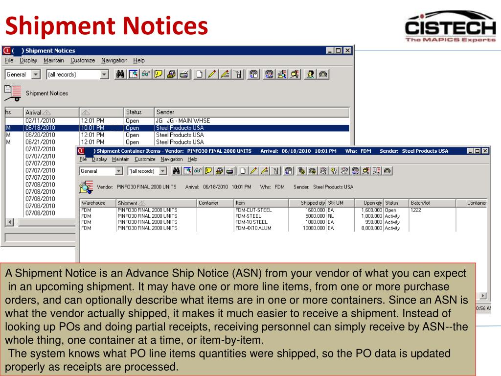 Shipment Notices