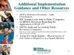 additional implementation guidance and other resources