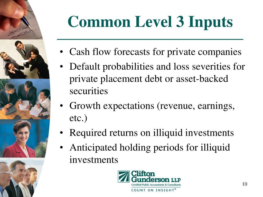 Common Level 3 Inputs