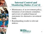 internal control and monitoring duties cont d