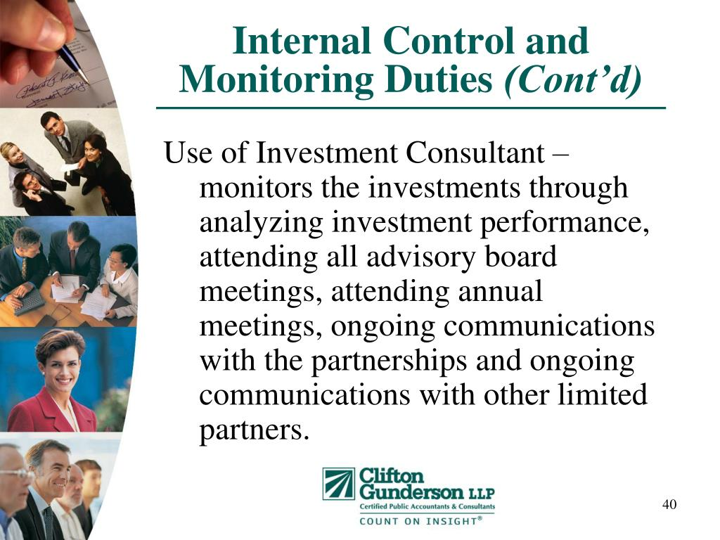 Internal Control and Monitoring Duties