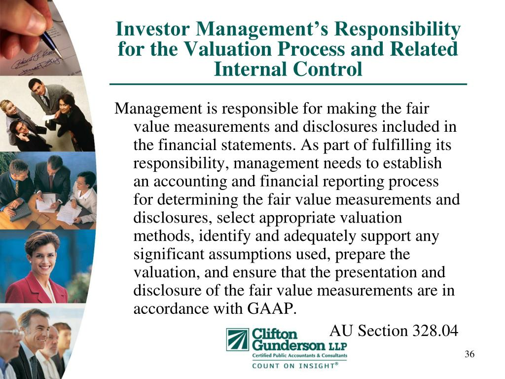 Investor Management's Responsibility for the Valuation Process and Related Internal Control