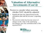 valuation of alternative investments cont d28