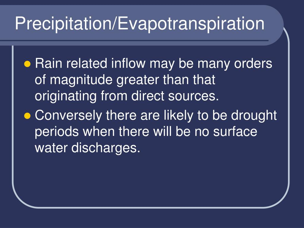 Precipitation/Evapotranspiration