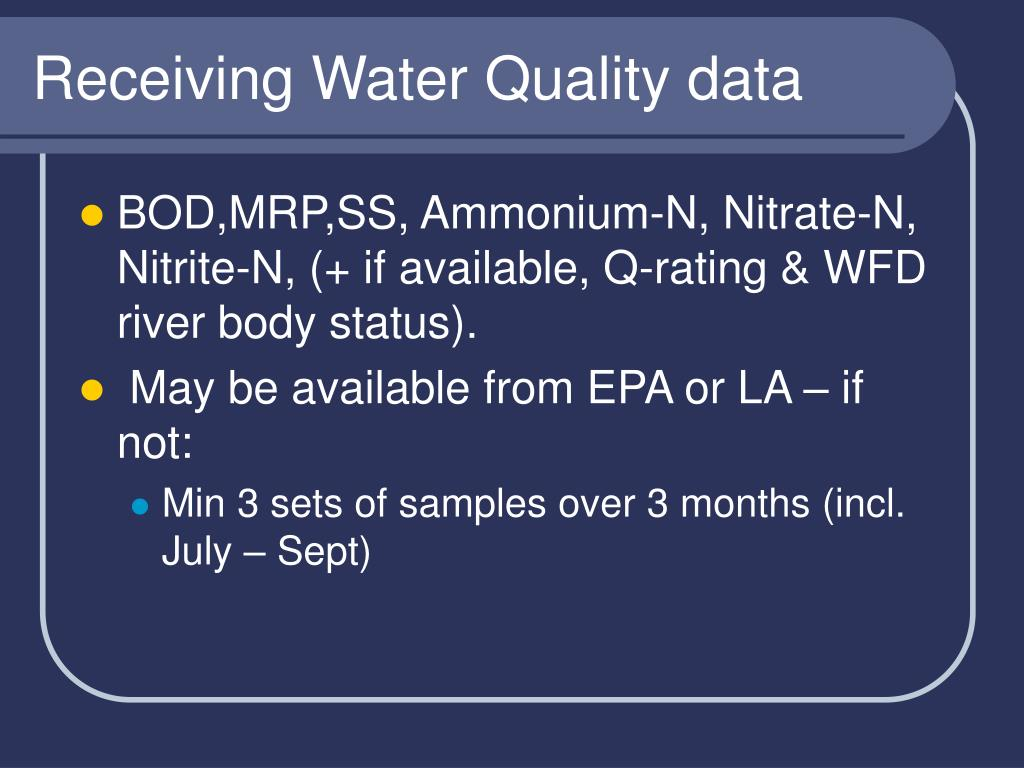 Receiving Water Quality data