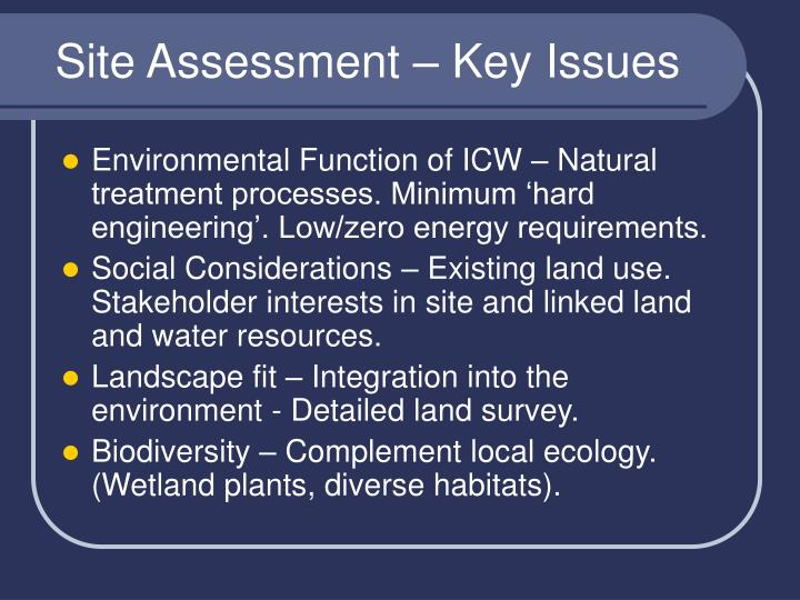 Site assessment key issues