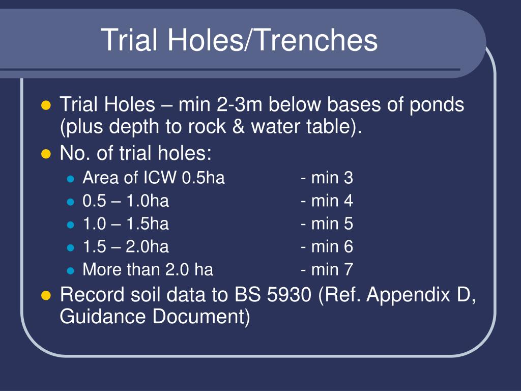 Trial Holes/Trenches
