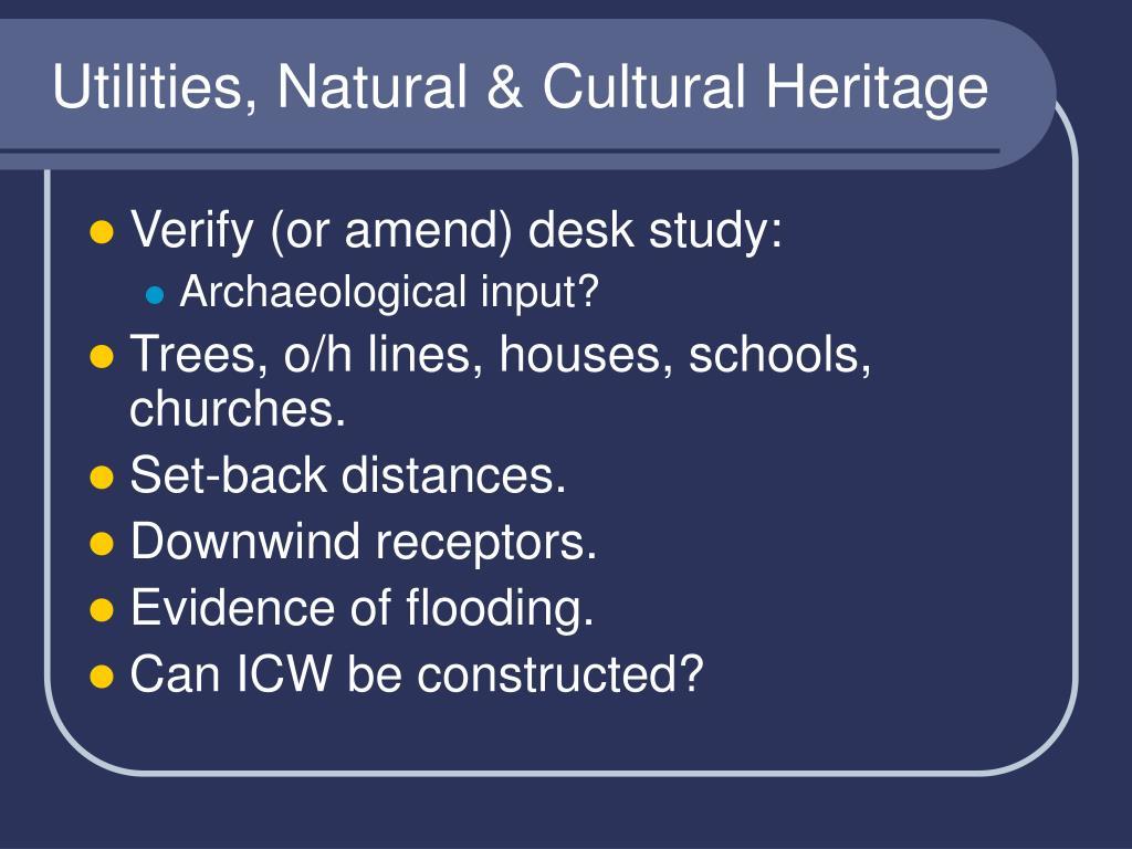 Utilities, Natural & Cultural Heritage