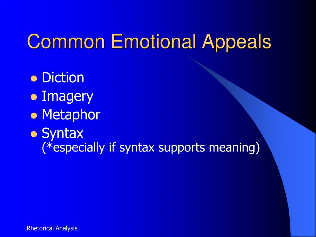 appeal emotion essay An emotional appeal uses emotions as the basis of an argument's position without factual evidence that logically supports the major ideas endorsed by the presenter in an emotional appeal, persuasive language is used to develop the foundation of an appeal to emotion-based arguments instead of facts.