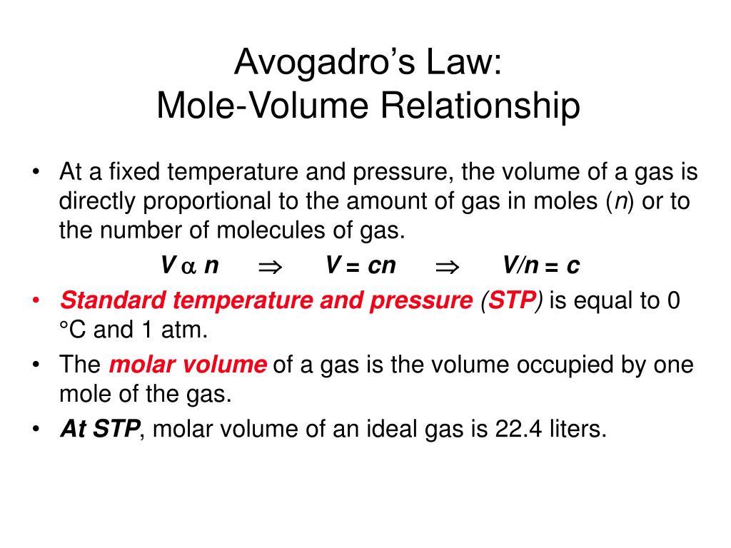 Avogadro's Law: