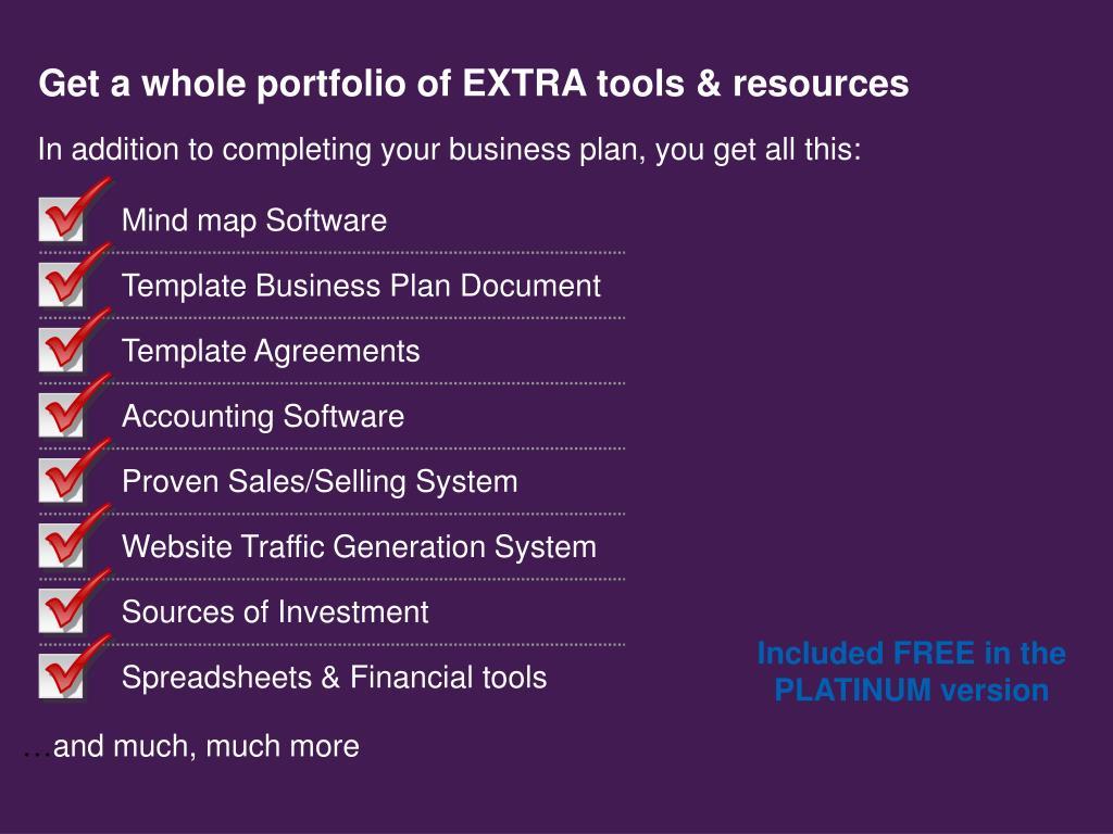 Get a whole portfolio of EXTRA tools & resources