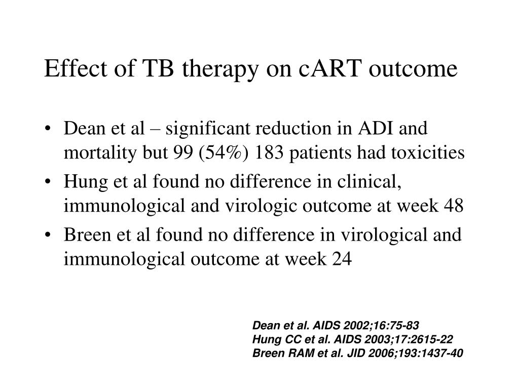 Effect of TB therapy on cART outcome