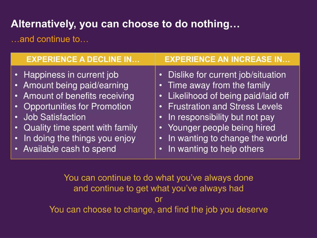 Alternatively, you can choose to do nothing…