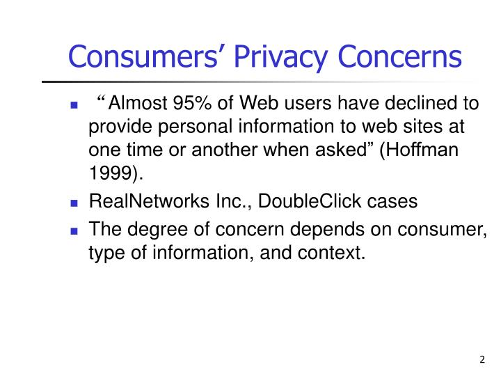 Consumers privacy concerns