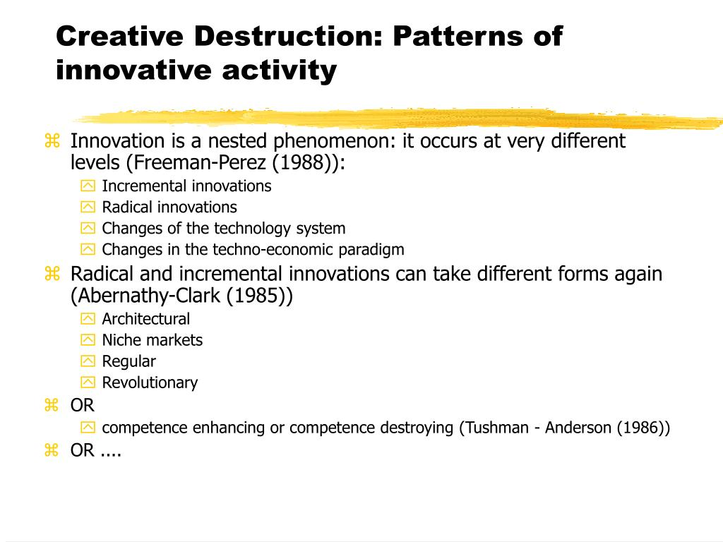 Creative Destruction: Patterns of innovative activity