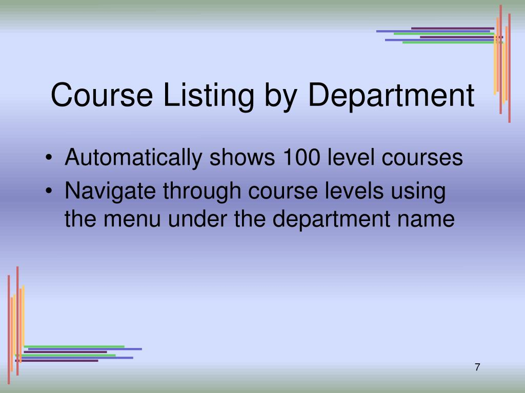 Course Listing by Department
