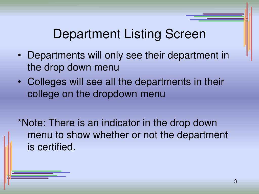 Department Listing Screen