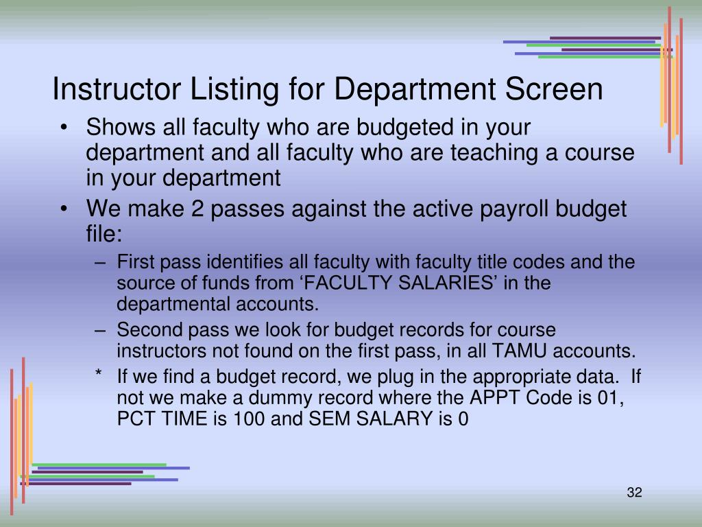 Instructor Listing for Department Screen