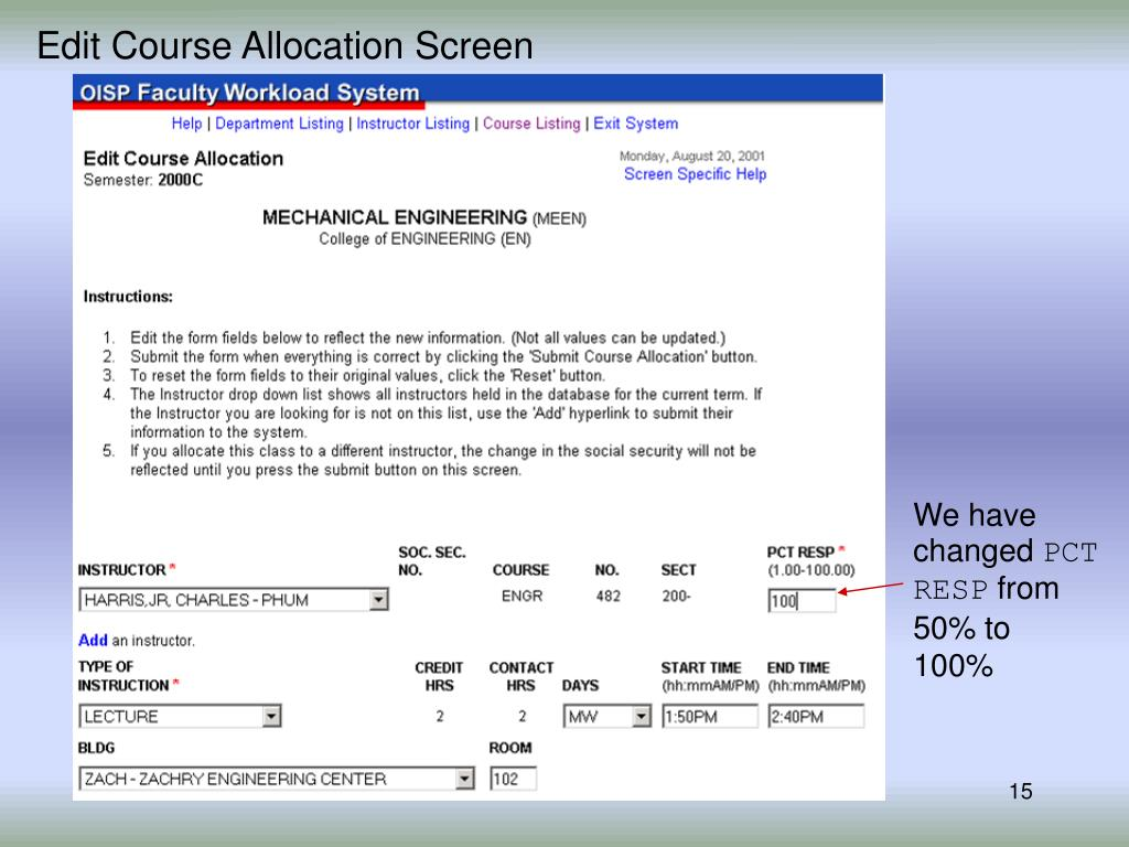 Edit Course Allocation Screen