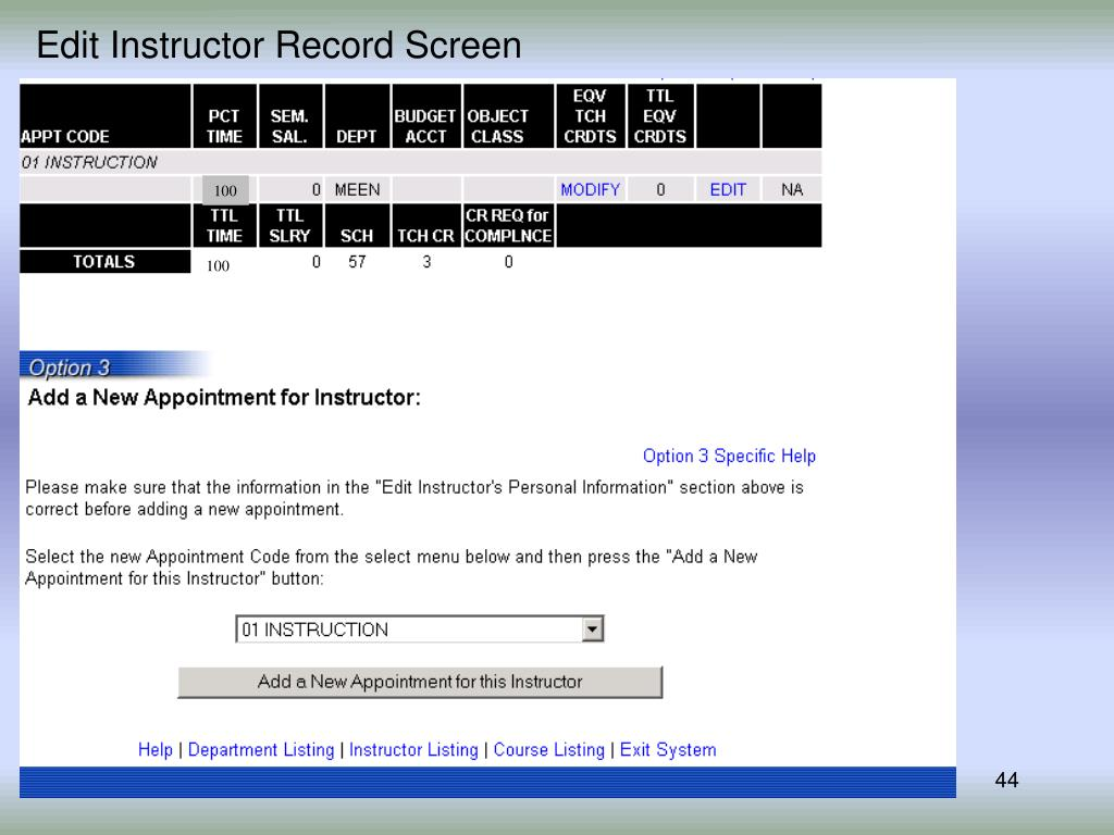 Edit Instructor Record Screen
