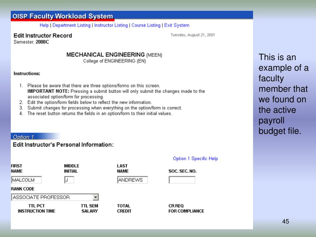 This is an example of a faculty member that we found on the active payroll budget file.