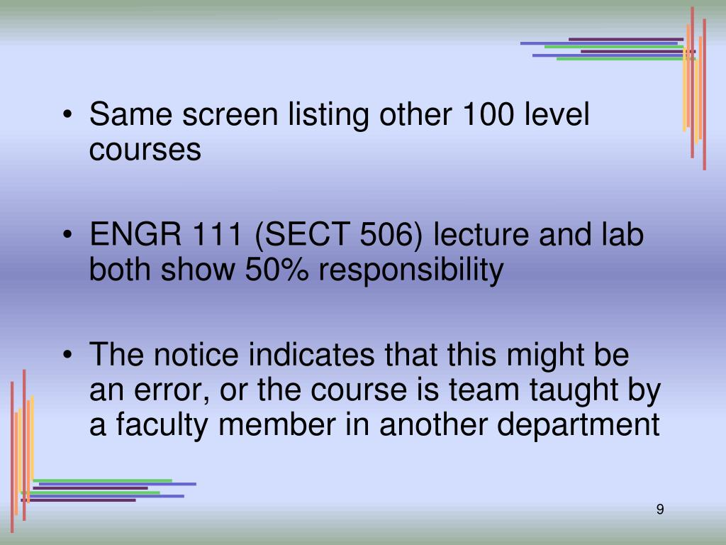Same screen listing other 100 level courses