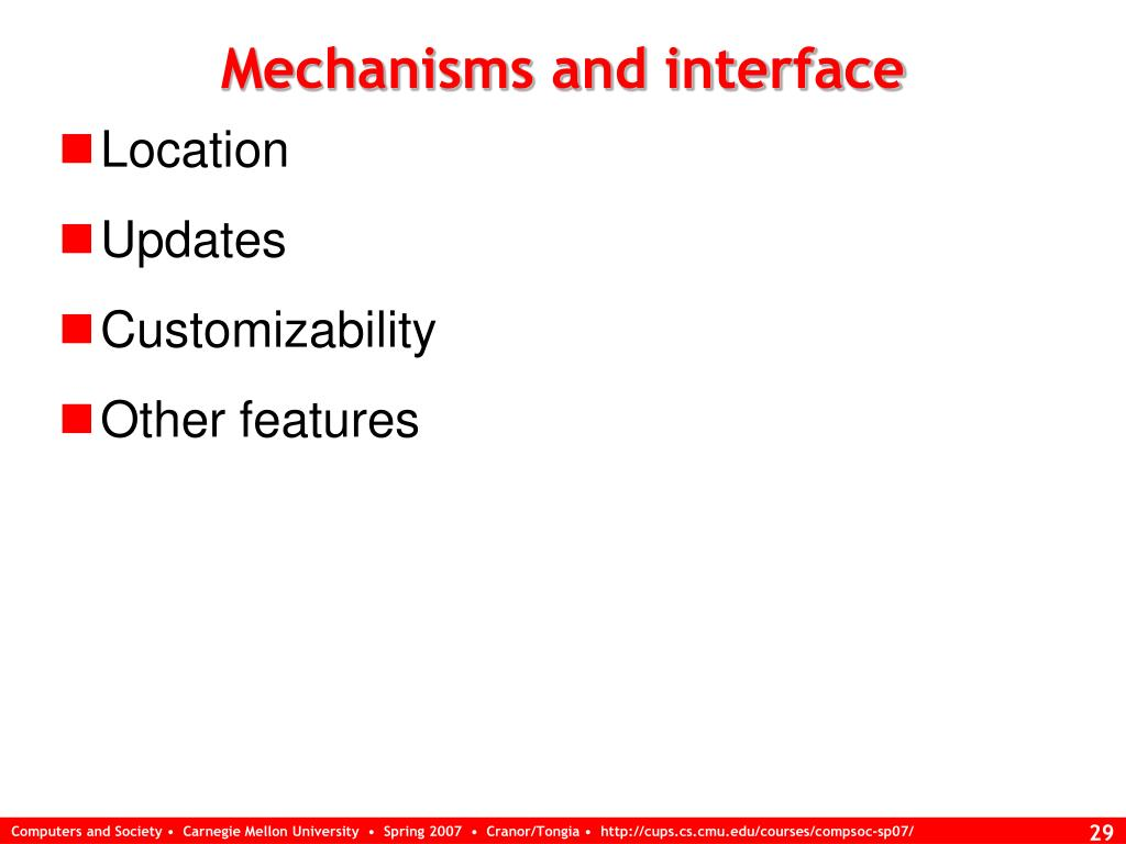 Mechanisms and interface