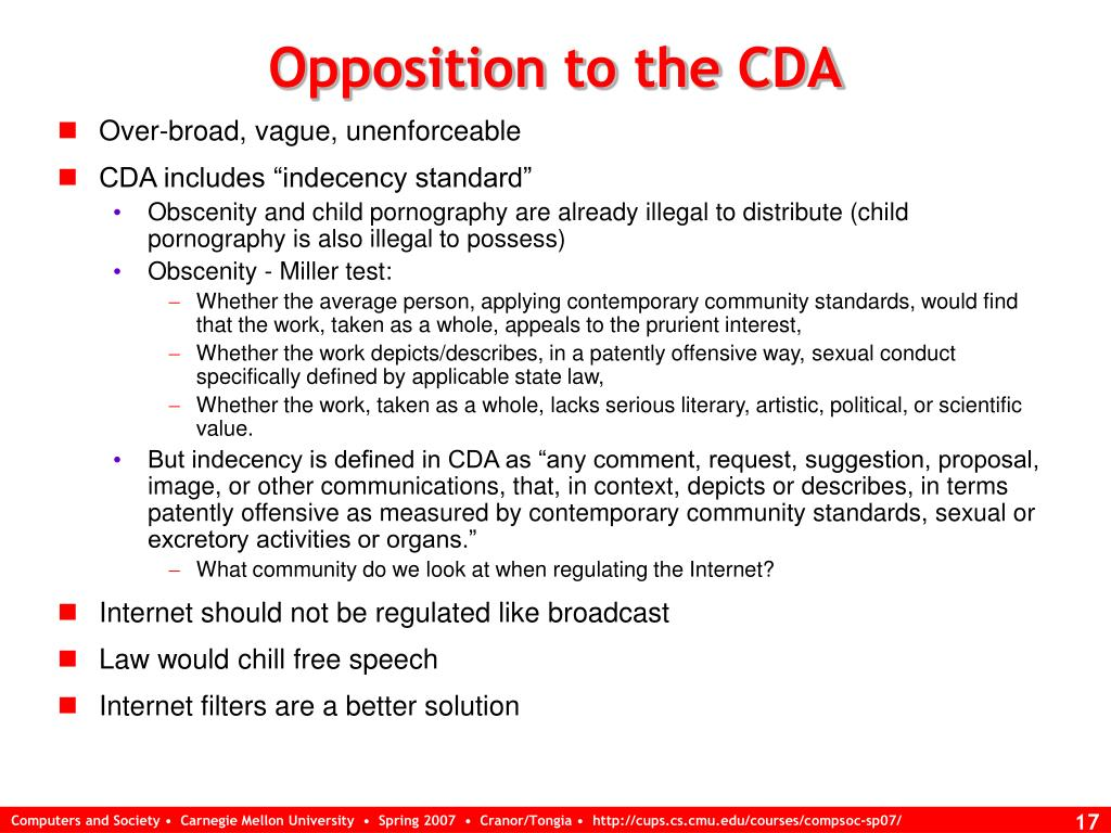 Opposition to the CDA