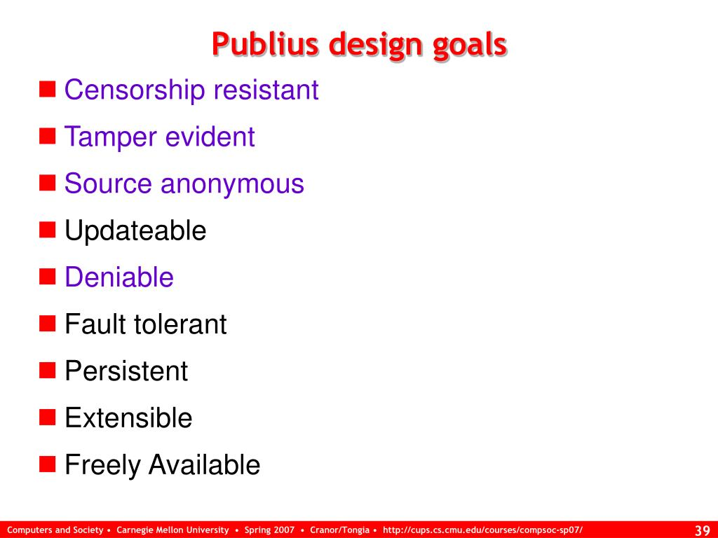 Publius design goals