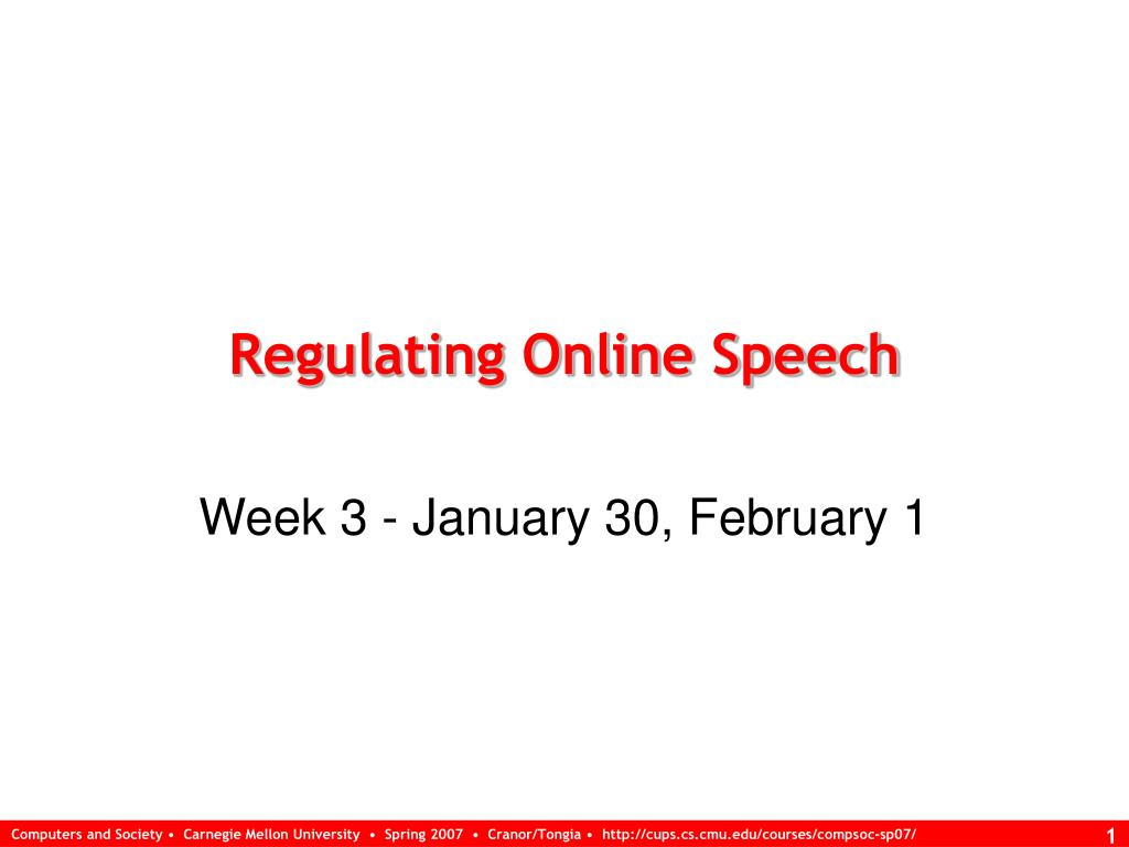 Regulating Online Speech