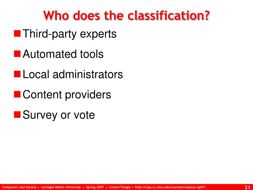 Who does the classification?