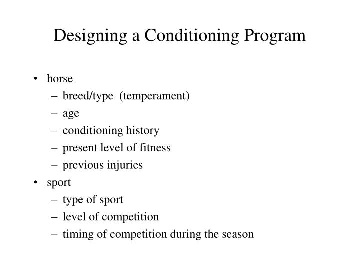 Designing a Conditioning Program