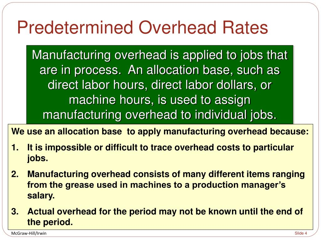 the disadvantage of using predetermined manufacturing overhead rate