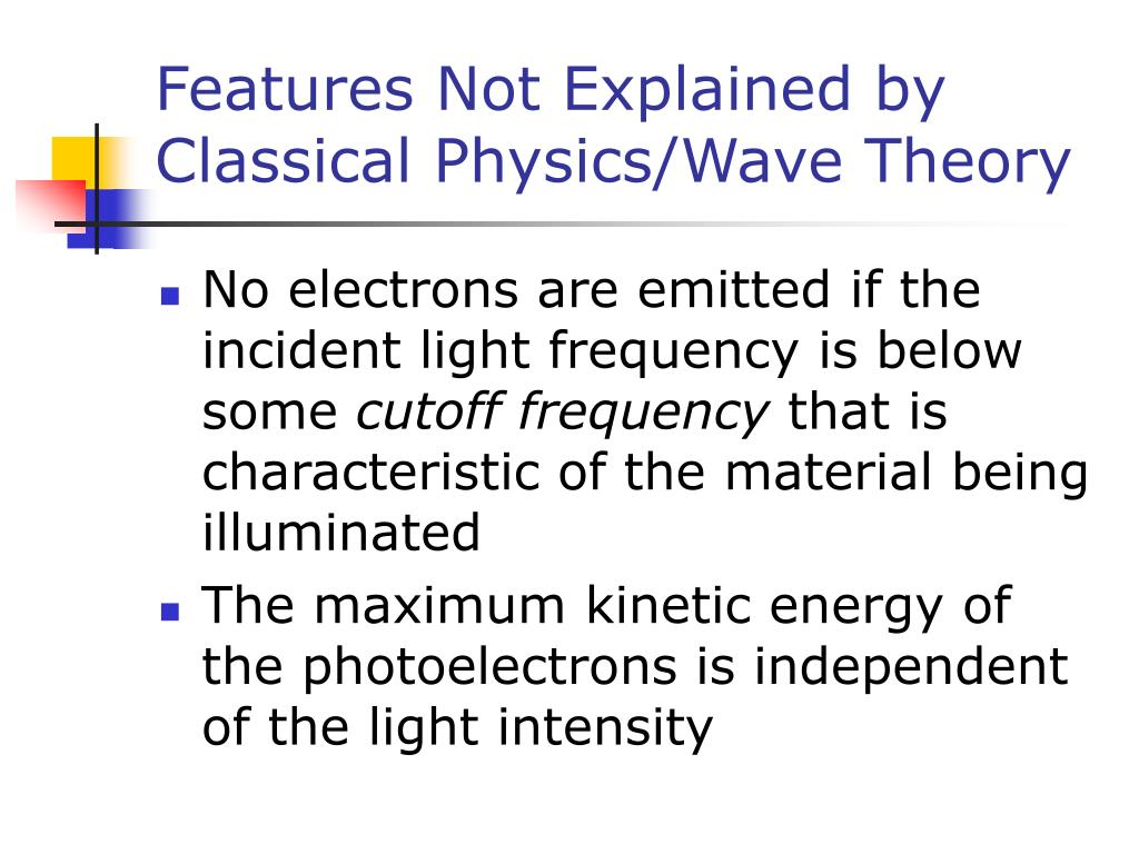 Features Not Explained by Classical Physics/Wave Theory