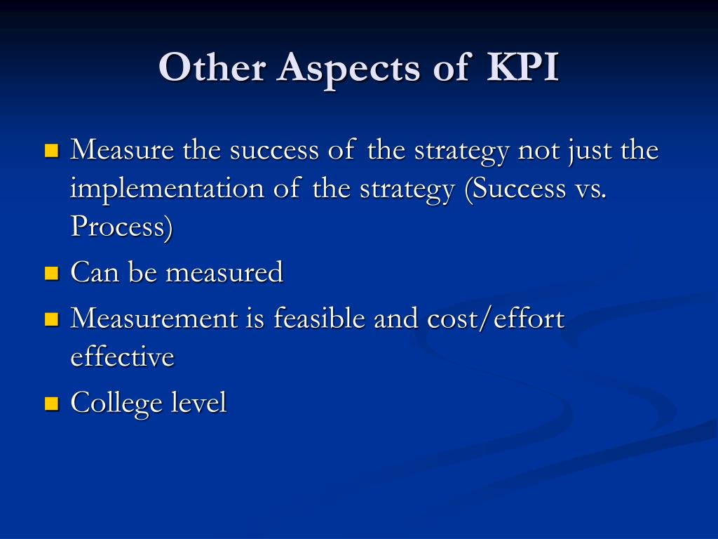 Other Aspects of KPI