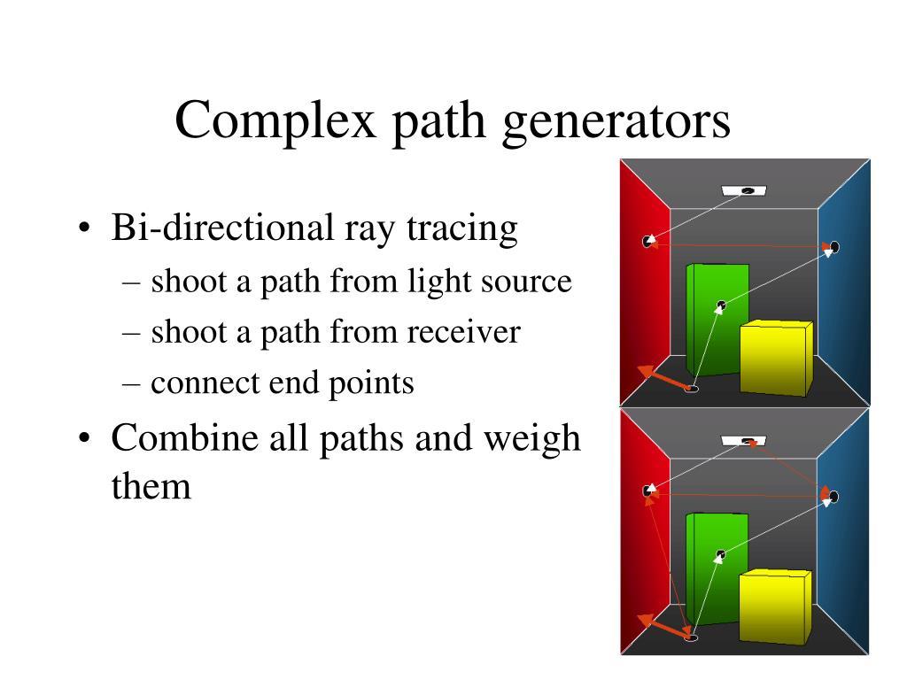 Complex path generators