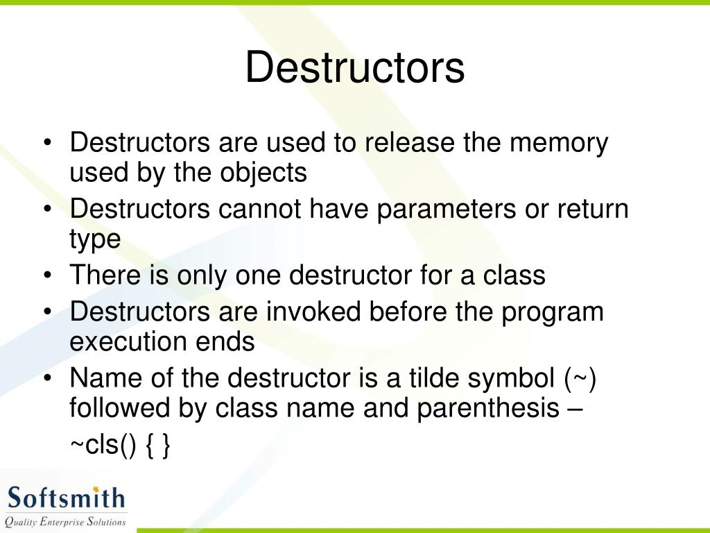 Destructors