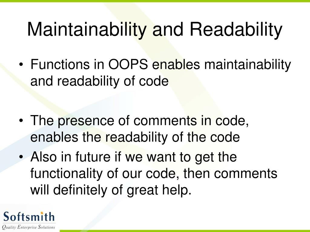 Maintainability and Readability