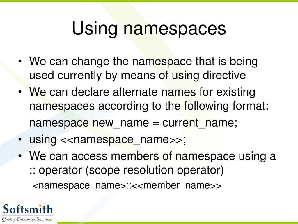 Using namespaces