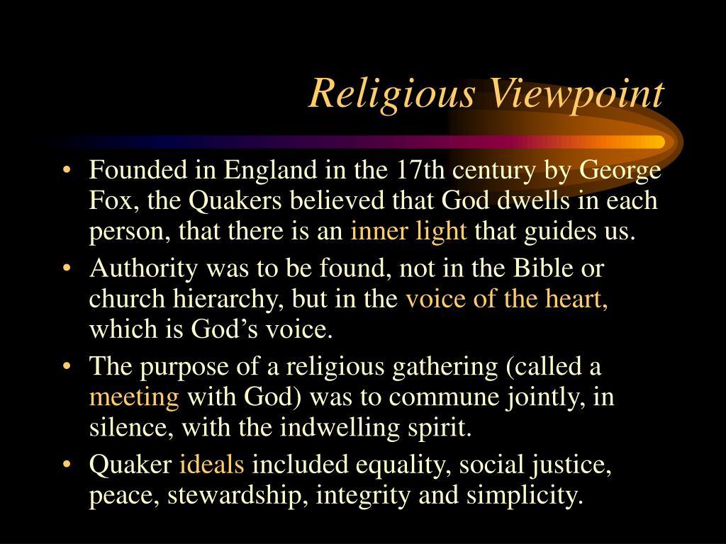 Religious Viewpoint