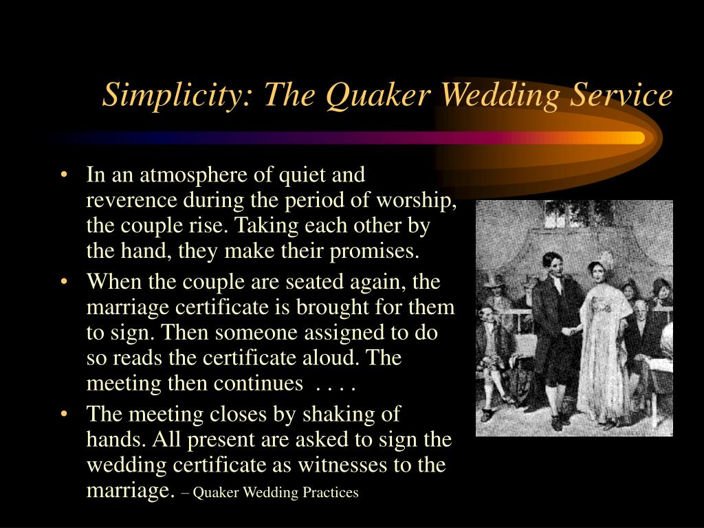 Simplicity: The Quaker Wedding Service