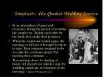 simplicity the quaker wedding service