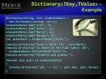 dictionary tkey tvalue example