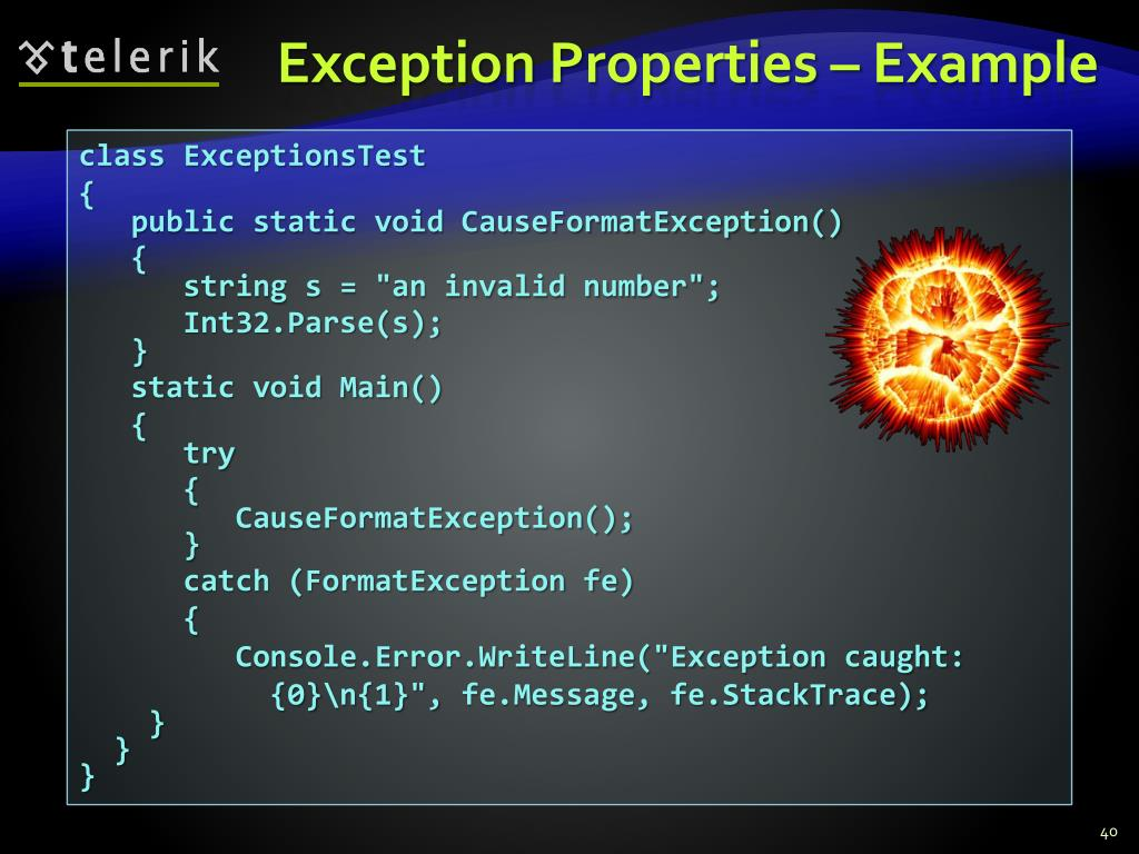 Exception Properties – Example