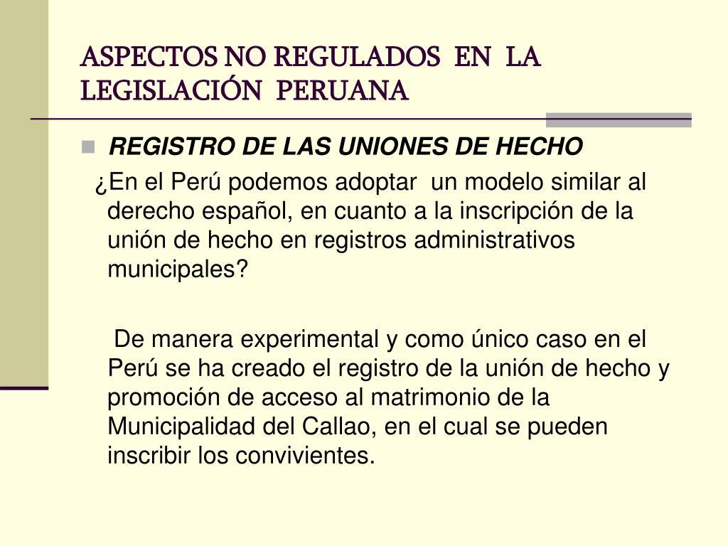 ASPECTOS NO REGULADOS  EN  LA  LEGISLACIÓN  PERUANA